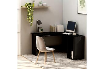 L-Shaped Corner Desk High Gloss Black 120x140x75 cm Chipboard