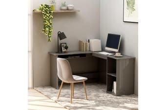 L-Shaped Corner Desk High Gloss Grey 120x140x75 cm Chipboard