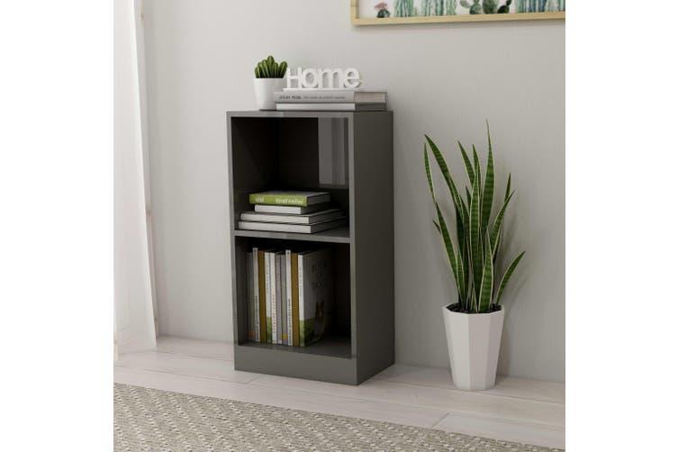 Bookshelf High Gloss Grey 40x24x75 cm Chipboard