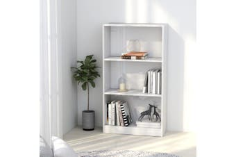 3-Tier Book Cabinet High Gloss White 60x24x108 cm Chipboard
