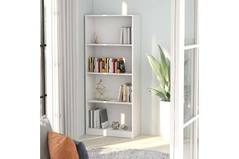 4-Tier Book Cabinet White 60x24x142 cm Chipboard