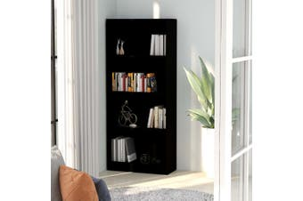4-Tier Book Cabinet Black 60x24x142 cm Chipboard