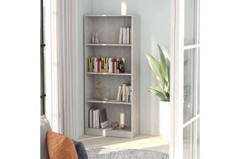 4-Tier Book Cabinet Concrete Grey 60x24x142 cm Chipboard