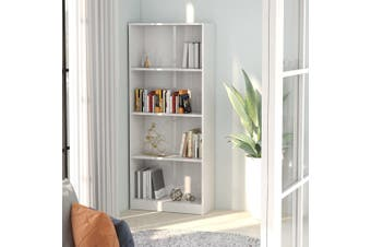 4-Tier Book Cabinet High Gloss White 60x24x142 cm Chipboard