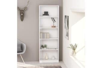 5-Tier Book Cabinet White 60x24x175 cm Chipboard