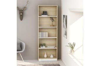 5-Tier Book Cabinet White and Sonoma Oak 60x24x175 cm Chipboard