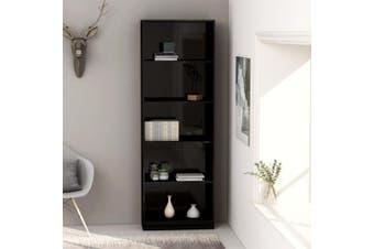 5-Tier Book Cabinet High Gloss Black 60x24x175 cm Chipboard
