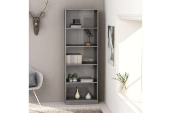 5-Tier Book Cabinet High Gloss Grey 60x24x175 cm Chipboard