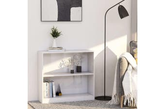 Bookshelf High Gloss White 80x24x75 cm Chipboard