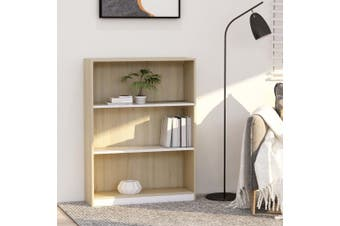 Bookshelf White and Sonoma Oak 80x24x108 cm Chipboard