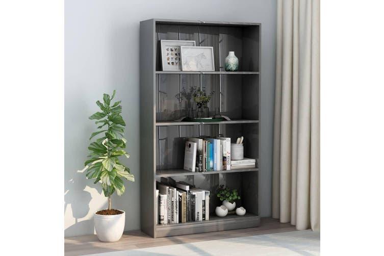 4-Tier Book Cabinet High Gloss Grey 80x24x142 cm Chipboard