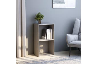 2-Tier Book Cabinet Grey 40x30x76.5 cm Chipboard