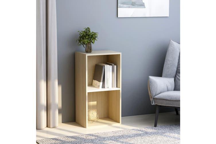 2-Tier Book Cabinet White and Sonoma Oak 40x30x76.5 cm Chipboard