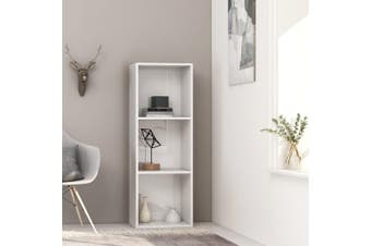 3-Tier Book Cabinet High Gloss White 40x30x114 cm Chipboard
