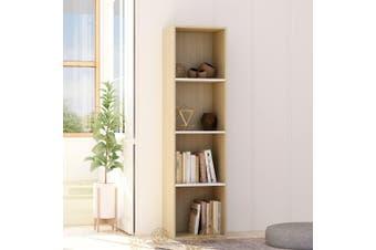 Book Cabinet White and Sonoma Oak 40x30x151.5 cm Chipboard