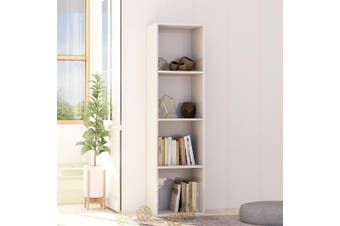 Book Cabinet High Gloss White 40x30x151,5 cm Chipboard