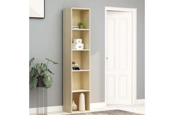 Book Cabinet White and Sonoma Oak 40x30x189 cm Chipboard
