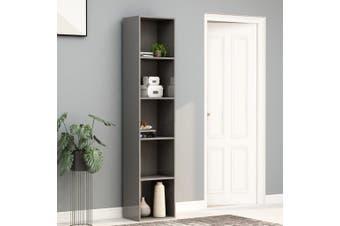 Book Cabinet High Gloss Grey 40x30x189 cm Chipboard