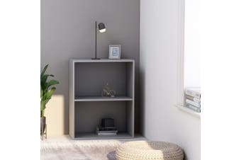 2-Tier Book Cabinet Grey 60x30x76.5 cm Chipboard