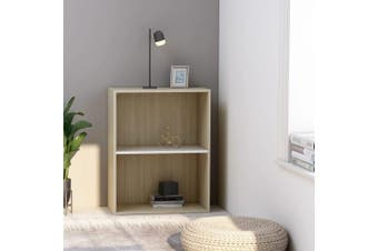 2-Tier Book Cabinet White and Sonoma Oak 60x30x76.5 cm Chipboard