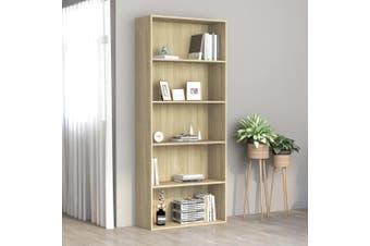 5-Tier Book Cabinet Sonoma Oak 80x30x189 cm Chipboard