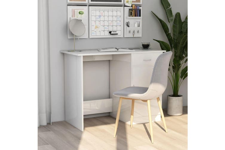 Desk High Gloss White 100x50x76 cm Chipboard
