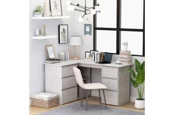 Corner Desk Concrete Grey 145x100x76 cm Chipboard