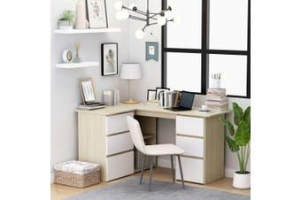 Corner Desk White and Sonoma Oak 145x100x76 cm Chipboard