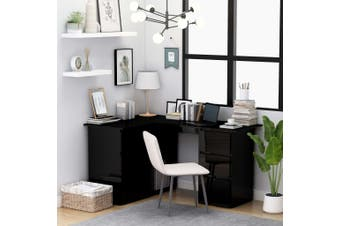 Corner Desk High Gloss Black 145x100x76 cm Chipboard