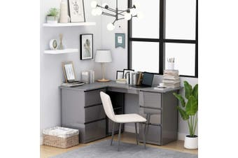 Corner Desk High Gloss Rrey 145x100x76 cm Chipboard