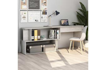 Corner Desk Concrete Grey 200x50x76 cm Chipboard
