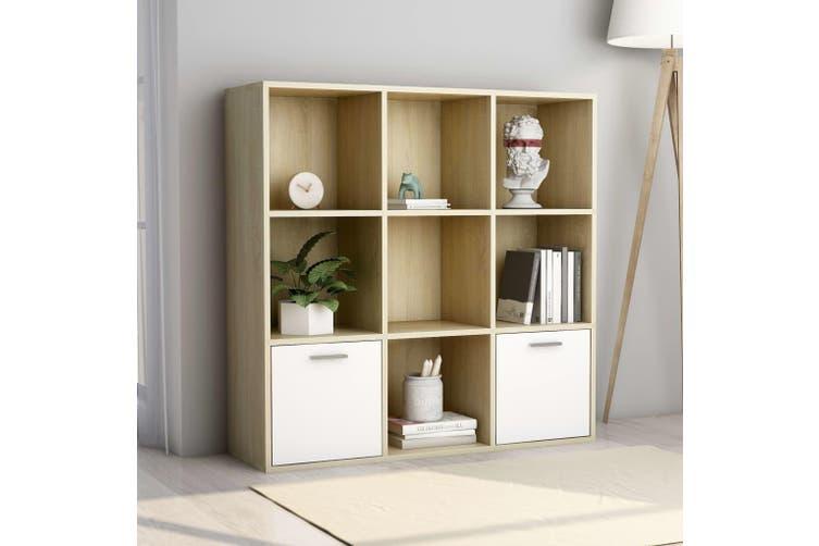 Book Cabinet White and Sonoma Oak 98x30x98 cm Chipboard