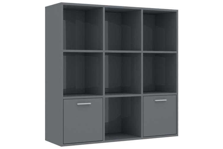 Book Cabinet High Gloss Grey 98x30x98 cm Chipboard