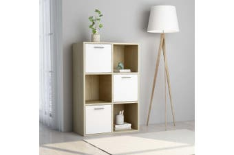Storage Cabinet White and Sonoma Oak 60x29.5x90 cm Chipboard