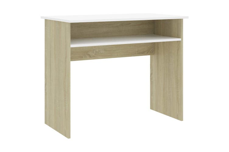 Desk White and Sonoma Oak 90x50x74 cm Chipboard