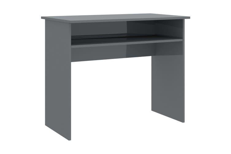 Desk High Gloss Grey 90x50x74 cm Chipboard