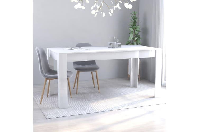 Dining Table High Gloss White 160x80x76 cm Chipboard