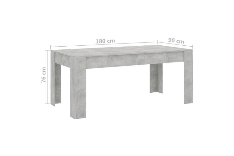 Dining Table Concrete Grey 180x90x76 cm Chipboard
