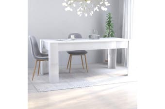 Dining Table High Gloss White 180x90x76 cm Chipboard