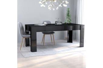Dining Table High Gloss Black 180x90x76 cm Chipboard