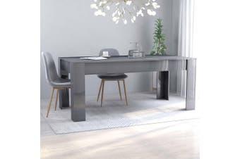 Dining Table High Gloss Grey 180x90x76 cm Chipboard