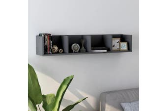 CD Wall Shelf Grey 100x18x18 cm Chipboard