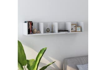 CD Wall Shelf High Gloss White 100x18x18 cm Chipboard