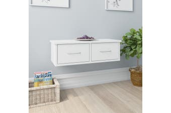 Wall-mounted Drawer Shelf High Gloss White 60x26x18.5 cm Chipboard