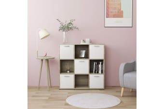 Book Cabinet White and Sonoma Oak 90x30x90 cm Chipboard