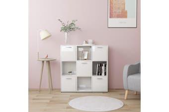 Book Cabinet High Gloss White 90x30x90 cm Chipboard