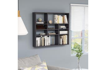 Wall Shelf High Gloss Grey 90x16x78 cm Chipboard