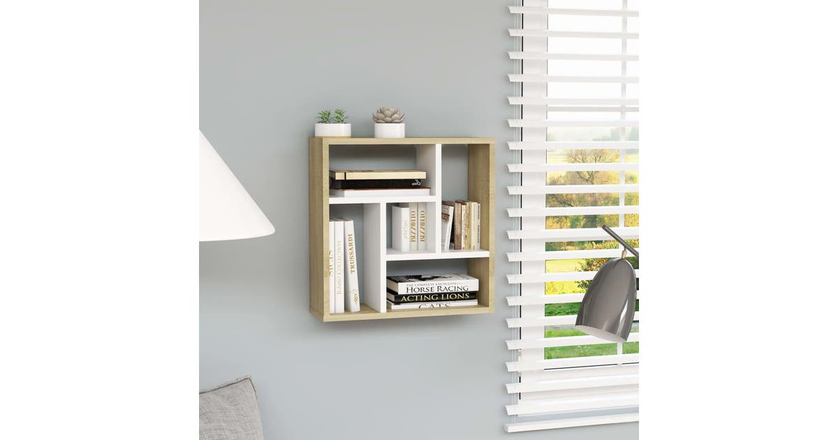 vidaxl wall shelf white and sonoma oak 451x16x451 cm chipboard
