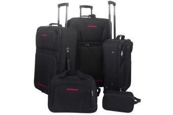 5 Piece Travel Luggage Set Black