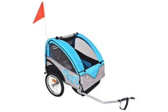 Kids' Bicycle Trailer Grey and Blue 30 kg